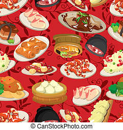 alimento, patrón, seamless, chino