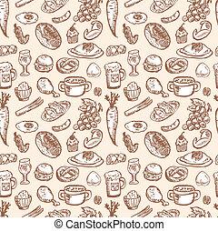 alimento, patrón, seamless