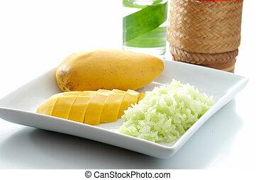 alimento, pegajoso, manga, rice., tailandês, arroz