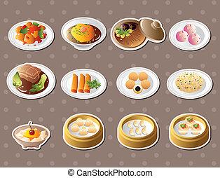 alimento, pegatinas, chino