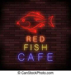 alimento, peixe, néon, coloridos, sinal