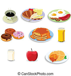 alimento, pequeno almoço, ícones