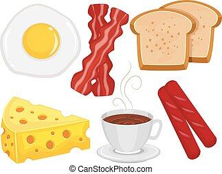 alimento, pequeno almoço, elementos