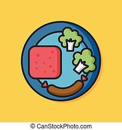 alimento, pequeno almoço, vetorial, ícone
