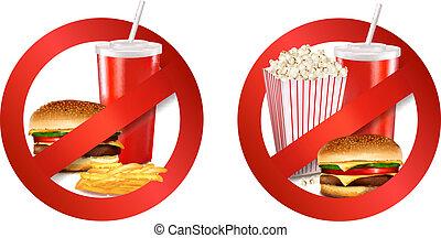 alimento, perigo, label., vetorial, illustration.