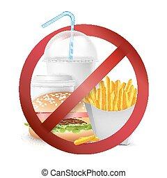 alimento, perigo, vector., nenhum alimento, permitido, símbolo., isolado, realístico, illustration.