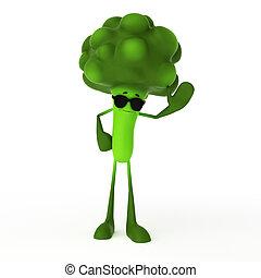 alimento, personagem, -, brócolos