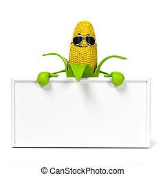 alimento, personagem, cob milho, -