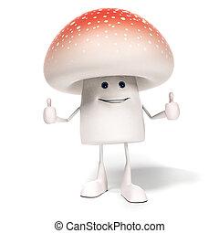 alimento, personagem, -, cogumelo