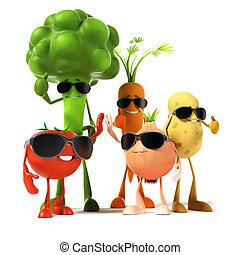 alimento, personagem, -, vegetal