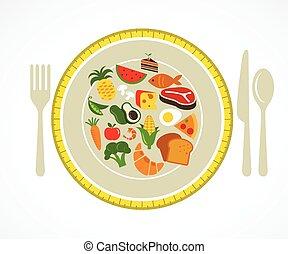 alimento, placa, salud