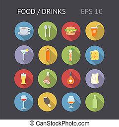 alimento, plano, bebidas, iconos