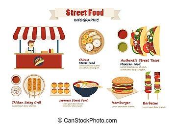 alimento, plano, calle, diseño, infographic
