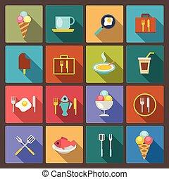 alimento, plano, conjunto, bebida, iconos