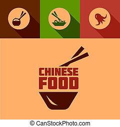 alimento, plano, diseño, chino