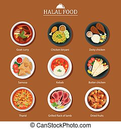 alimento, plano, diseño determinado, halal