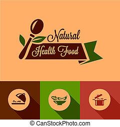 alimento, plano, elementos, diseño, natural