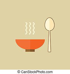 alimento, plano, kitchenware., icono