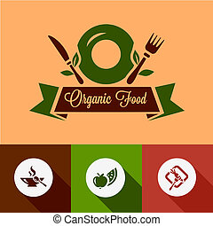alimento, plano, orgánico, iconos
