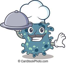 alimento porção, personagem, cozinheiro, bandeja, caricatura...