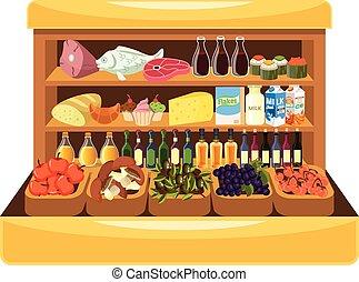 alimento, prateleira, supermercado
