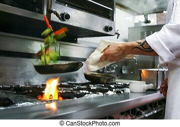 alimento que prepara, en, restaurante