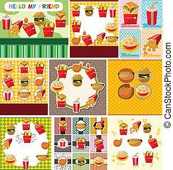 alimento, rápido, caricatura, tarjeta