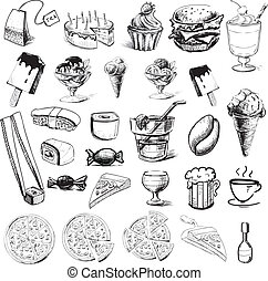 alimento, rápido, colección, bebidas