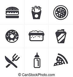 alimento, Rápido, iconos