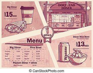 alimento, rápido, restaurante, alemania, aviador, dortmund