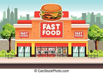alimento, rápido, restaurante