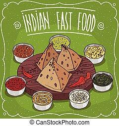 alimento, rápido, tradicional, indio, salsas, samosa