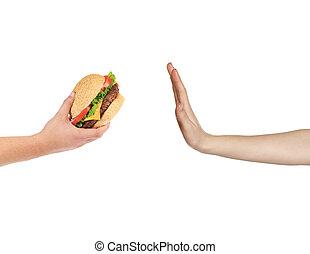 alimento, rapidamente, femininas, recusar, mão