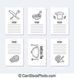 alimento, receita, cobrança, mão, cartões, desenhado