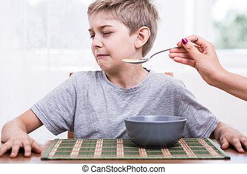 alimento, repugnante, comer, se negar