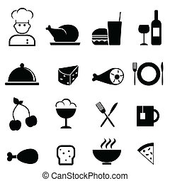 alimento, restaurante, ícones