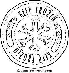 alimento, retener, congelado, etiqueta