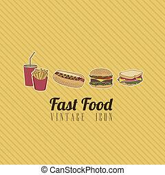 alimento, retro, rápido