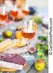 alimento,  rosÈ, italiano, vinho, vidro