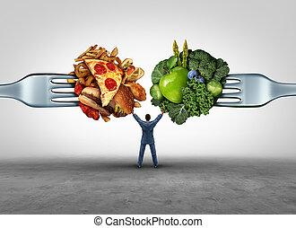 alimento, saúde, decisão