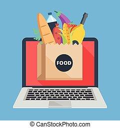 alimento, saco, laptop, papel