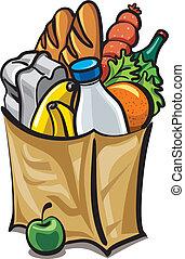 alimento, saco, papel