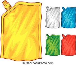 alimento, saco, tampa, embalagem