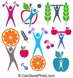 alimento, salud, iconos
