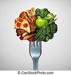 alimento, salud, opciones, concepto