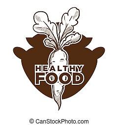 alimento sano, bosquejo, con, zanahoria, y, olla de cocina