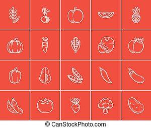 alimento sano, bosquejo, set., icono