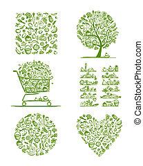 alimento sano, conjunto, bosquejo, para, su, diseño