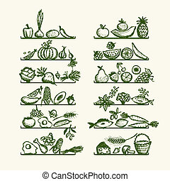 alimento sano, en, estantes, bosquejo, para, su, diseño
