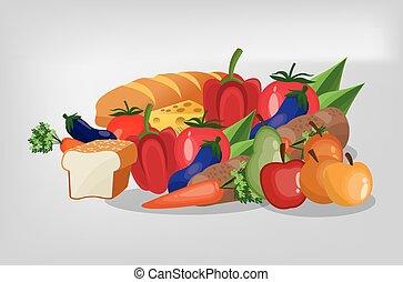 alimento sano, imagen, variado, iconos
